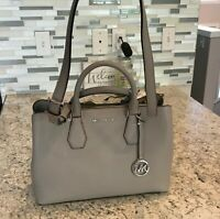 NWT NEW Michael Kors Camille Leather Large Satchel Pearl Grey (38F9SCAS3L) $378