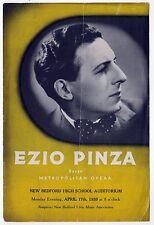 1939 EZIO PINZA Program BASSO Classical Music OPERA SINGER Italy ITALIAN Concert