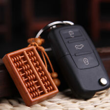Unisex Fashion Wood Carved Abacus Shaped Key Chain Key Ring Holder Keychain Gift