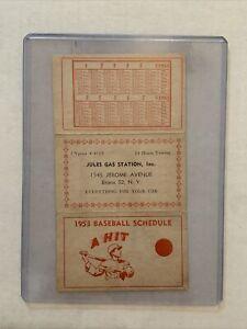 Vintage 1953 New York Yankees Giants Brooklyn Dodgers Team Schedule Gas Station