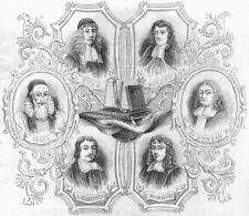 CLERGY. Leighton, Hall, Burnet, Bunyan, Barrow, Owen 1845 old antique print