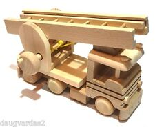 Handmade Wooden toy fire truck with a ladder. natural wood decoupage ecological