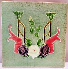VINTAGE TILE ART NOUVEAU ENGLAND MAJOLICA FREEHAND FLOWER DESIGN COLLECTIBLES