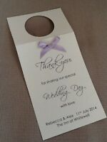 5 x Handmade Personalised Ribbon Wedding Table Wine Bottle Tags Label Thank-you