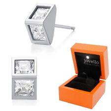 Top Zirkonia Ohrstecker Ohrstick aus 925 Silber + Luxus LED Schmuckbox
