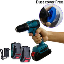 21V Electric Drill without Drill accessories Dust cover Free Blue w/ 2 batteries