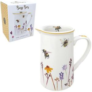 Busy Bees Floral Fine China Milk Jug Pitcher Kitchen Table Accessory Gift Boxed