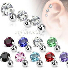 1PC. Surgical Steel Round C.Z. Prong Set Helix Cartilage Tragus Piercing Barbell