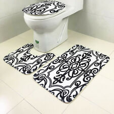 3pcs Black Vine Non-Slip Rug Bath Mat Bathroom Toilet Seat Lid Cover Sets