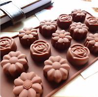15 Cavity Silicone Flower Rose Chocolate Cake Soap Mold Baking Ice Tray Mould