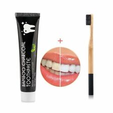 Natural Bamboo Charcoal Toothpaste Teeth Whitening Stains Remover +Toothbrush US
