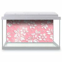 Fish Tank Background 90x45cm - White Flowers Pink Girls Floral  #14866