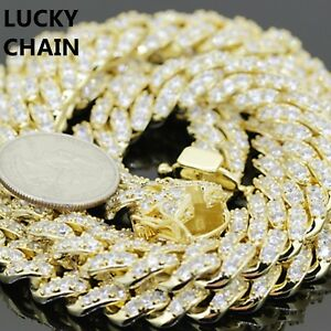 """14K GOLD FINISH BLING OUT PRONG SET CUBAN LINK CHAIN NECKLACE 20""""12mm 147g"""