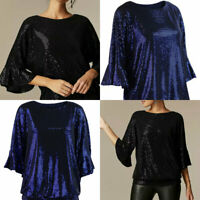 Wallis Womens Sparkle Sequinned Fan Sleeve Black or Blue Glitter Party Top