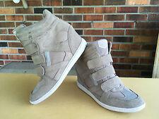 SKECHERS RAISE The BAR-+3 Hidden Wedge High Top Sneaks Beige Suede Leather Sz 10