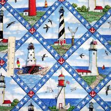 Nautical Fabric - Large Lighthouse Diamond Scenes CP34975 - Springs 20
