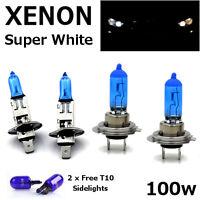 H1 H7 T10 100w SUPER WHITE XENON Upgrade Head light Bulbs Set Dip Main Beam B
