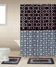 Marion Brown And Blue 15-Piece Bathroom Accessory Set 2 Bath Mats Shower Curtain