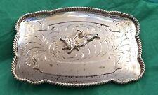 VTG Large 5 Inch Cowboy Western BULL RIDER Alpaca 2 Banner TROPHY BELT BUCKLE