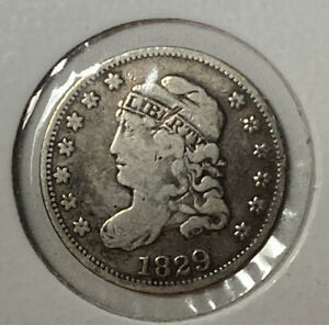 1829 Capped Bust Fine F Silver US Half Dime H10C