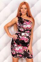 NWT BLACK FLORAL/PINK FLORAL ONE SHOULDER DRESS SIZE M (10/12)