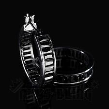 18K Black Gold ICED OUT Simulated Diamond Emerald Cut Huggie Hoop Earring