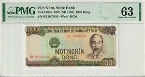 Vietnam PMG Certified Banknote Choice UNC 63 1987 1988 1000 Dong Pick 102a
