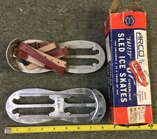 VINTAGE SLED ICE SKATE W/ADJUSTABLE STRAPS ARCO BRAND NICE! W/ORIGINAL BOX 81517