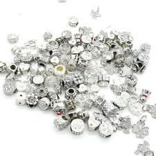 White European 10pcs mix Silver CZ Charm Beads Fit Necklace Bracelet Wholesale