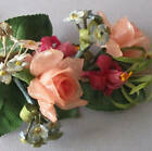 Antique c1900 WAX + Paper Flower Bouquet PINK ROSES Fuchsia w Glass DOME Display