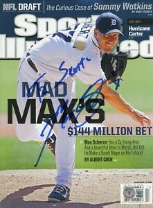 MAX SCHERZER TIGERS DODGERS NO LABEL SPORTS ILLUSTRATED SIGNED AUTOGRAPHED BAS