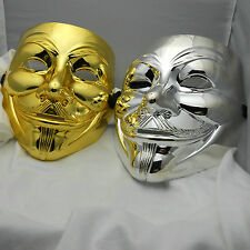 2 New V For Vendetta Anonymous  Guy Falks  Mask masque masquerade gold n silver