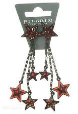 PILGRIM Earrings STAR Charm Black Red Swarovski Enamel BNWT Last Pairs!