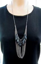Stones & Tassel Fringe Pendant Necklace Gun Metal Chain with Black Faceted
