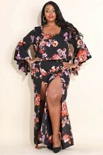 New Sexy and Beautiful 2 piece plus size pant set Black with floral print