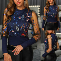 Fashion Womens Embroidery Long Sleeve Mesh Top Blouse Floral Sheer Summer Shirts