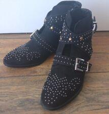 River Island Sze 4 Millie Black Silver Studded Ankle Boots Low Heel Buckle BNWOT