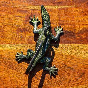 Large Brass Antique Lizard Door Handle Pull - Verdigris Finish