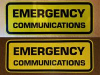 EMERGENCY COMMUNICATIONS DECAL STICKER YELLOW REFLECTIVE BLACK HAM AMATEUR RADIO