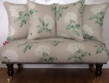Long Footstool Stool & 4 Cushions Laura Ashley Heligan Natural Fabric