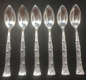 Set Of 6 Tiffany Vine & Gourd Pattern Sterling Silver Citrus / Grapefruit Spoons