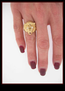 14K Yellow Gold Lion Head Ring With Diamond Eyes and Ruby Mouth