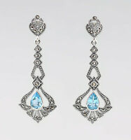 9927680 925er Silber Blautopas-Markasit-Ohrringe Vintage 5,5x2cm