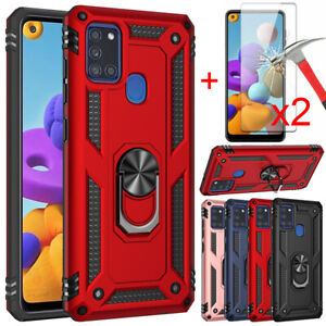 For Samsung Galaxy A21S A21 Case Ring Kickstand Cover+Tempered Glass Protector