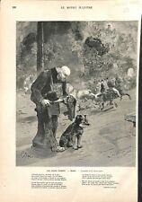 Aveugle Chien Orgue de Barbarie Auguste Boisard Edmond Morin ILLUSTRATION 1882