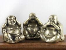 Die Drei Weisen Buddhas chinesische Buddha-Figuren Skulpturen klein silbern