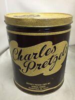 CHARLES PRETZELS METAL PRETZELS TIN VINTAGE ORIGINAL CHARLES PRETZELS METAL TIN