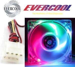 "3""in/80mm EVERCOOL Ball Bearing Case Fan 12VDC/12V 4pin Molex{Red,Green,Blue3LED"