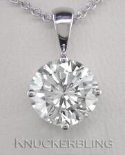 1.00ct F SI Exc Round Brilliant Cut Diamond & 18ct White Gold Pendant with Chain