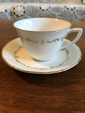 "Vintage Royal Worcester ""Gold Chantilly""  Tea Cup and Saucer High Tea England"